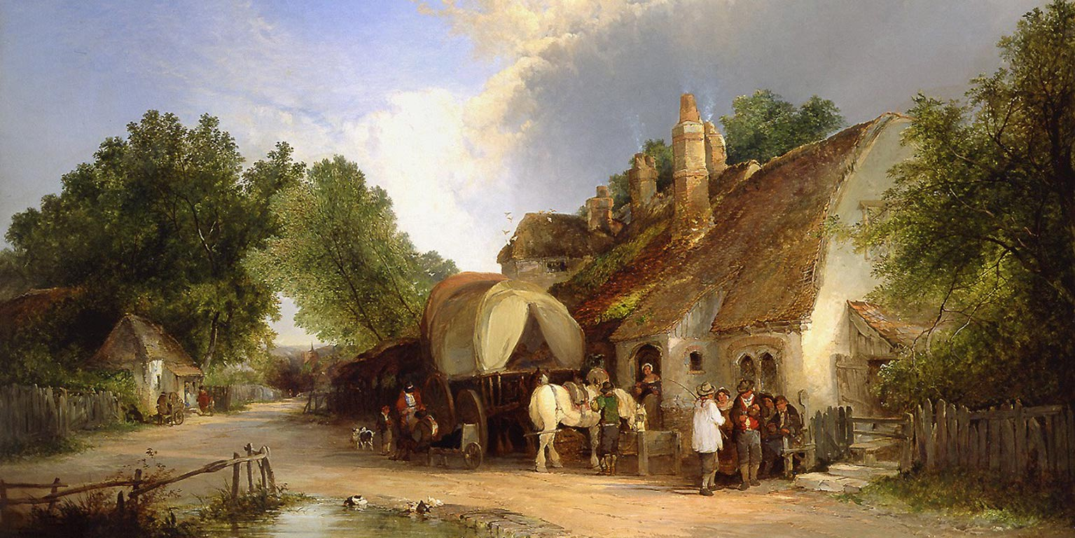 Painting by Edward Charles Williams (1807-1881) - The Old Roadside Inn